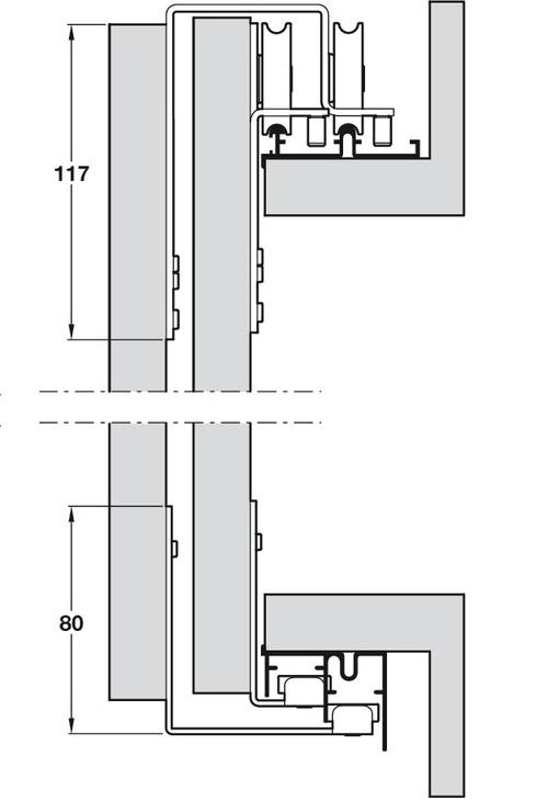 Häfele System SF-S35 for Sliding Wardrobe Doors